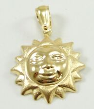 18K Yellow Gold Smiling Sun Face Charm Pendant Sunshine 1 3/16""
