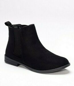 Womens Black Chelsea Boots Wide Fit Ankle Low Heel Faux Suede Size 6 to 6.5 NEW