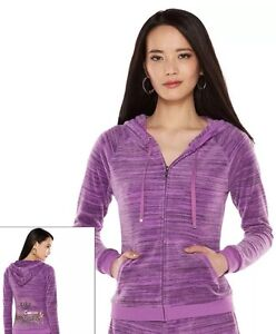 JUICY COUTURE Velour HOODIE Size: MEDIUM (6 - 8)New SHIP FREE Purple Jacket