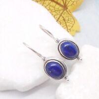 Lapislazuli blau oval Design Ohrringe Ohrhänger Haken 925 Sterling Silber neu