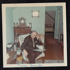 Vintage Photograph Man Sitting in Chair Reading in Retro Living Room