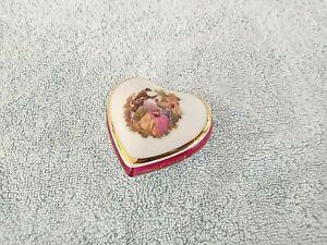 "Vintage "" Limoges "" Courting Couple Heart Shaped Lidded Trinket Box"