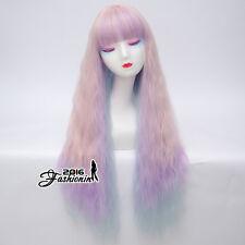 60CM Pink Purple Green Ombre Long Curly Hair Women Lolita Bangs Cosplay Wig+Cap