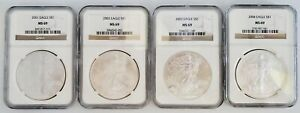 4) United States American Silver Eagles $1 Coins 2001 2002 2003 & 2004 NGC MS69