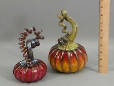 2 Authentic Signed Bryon Sutherland Glass Hand Blown Art Glass Pumpkins