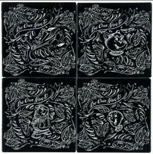 Disney Coaster Set Of 4- Beauty And The Beast - Be Our Guest Chalkboard NEW