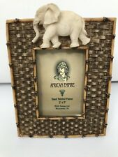 Dezine Elephant Sculpture on Faux Bamboo Frame - African Empire Pattern