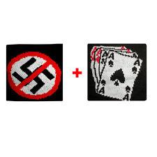 Coppia polsini divieto + carte da gioco in spugna gruppi rock e bandiere