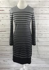 Talbots Women's Sweater Dress Long Sleeve Gray /Black Stripes Size S