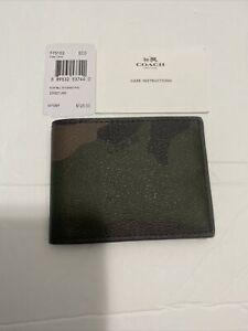 Coach Men's Wallet ECO Green Camo F75103 Slim Bill ID Camo PVC
