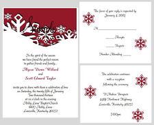 100 Personalized Custom Winter Snowflake Bridal Wedding Invitations Any Color