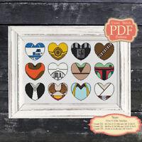 Valentine's Hearts - Cross stitch PDF pattern - Modern embroidery Hoop Art #009