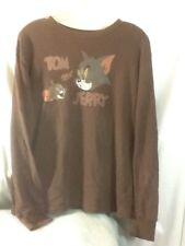 Nice Adult Sz Lg HANNA BARBERA Brown Long Sleeve TOM & JERRY Graphic Shirt COOL