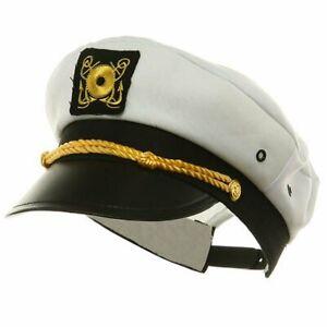Yacht Captain Hat Costume Adult Adjustable White Cap Sailor Gilligans Island