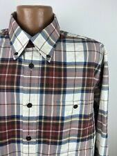 Orvis Signature Twill Plaid Shirt Mens XL White Red Blue Long Sleeve Button-Down