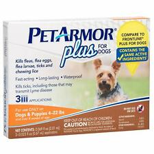 PetArmor Plus Flea & Tick Prevention Treatment for Dogs 4-22 lbs (3 Treatments)