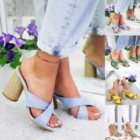 US Women's Comfy High-Heeled Slippers PU Leather Beach Coarse Sandals Shoes F/1