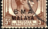 1945 BMA Malaya Sg 5 5c brown 'Upward Shift of Overprint' Fine Used