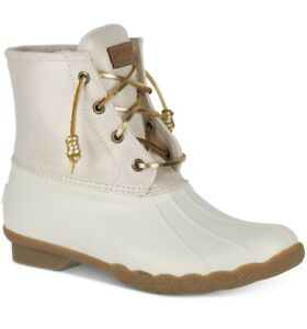 Sperry Womens Saltwater Rubber Closed Toe Ankle, Oat / Gold , Size 8 M