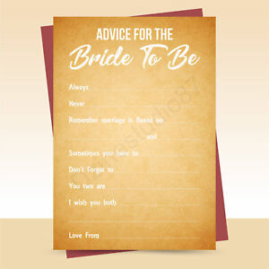 x10 Advice for the Bride to Be cards, hen party, bridal shower game, Old Paper