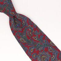 Stefano Ricci Mens Silk Necktie Dark Red Blue Green Paisley Print Tie Italy