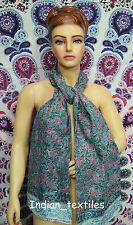 Indian Fashion Women Long Block Print Cotton Scarf Wrap Sarong Shawl Large