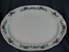 "Pfaltzgraff Red Ribbons 14"" Oval Serving Platter Christmas Holiday Stoneware"