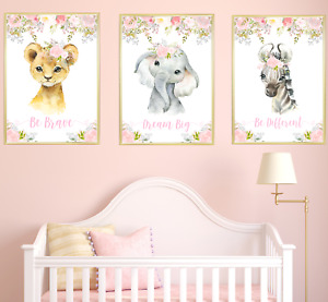 Girls Safari Jungle Animals Nursery Prints Set, Baby Kids Room Pictures Wall Art