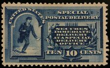 1885 Scott# E1 - 10 Cent Blue - Special Delivery Mint OG Heavy Hinge Pin hole