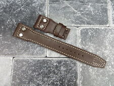 New 22mm Brown CALF Leather Strap Watch Band with Rivet IWC BIG PILOT Button 22