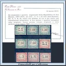 1897 San Marino Segnatasse Serie completa n. 1/9 Certif. Diena Nuovi Integri **