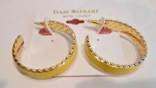 NWT, Issac Mizrahi Yellow Enamel, Plated Gold Tone Metal Hoop Pierced Earrings