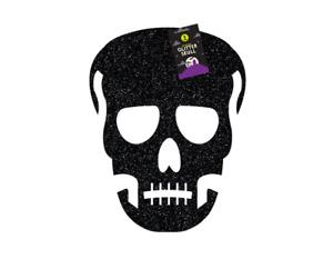Halloween Black Glitter Skull Hanging Decoration Spooky