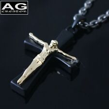 "Black cross golden Jesus Chris pendant 20"" steel chain necklace US SELLER"