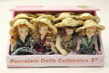 WHOLESALE Job Lot 12 x Porcelain Dolls House Dolls In Cute Dress & Straw Hat