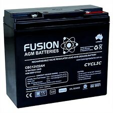 12V 22AH Fusion AGM Deep Cycle AGM Golf Buggy, Scooter Battery
