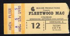 1980 Fleetwood Mac concert ticket stub Birmingham Alabama Tusk Tour