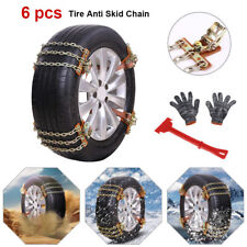 6Pcs Anti-Skid Snow Mud Tire Iron Chains Belt for Car/SUV/Truck Tire Emergency