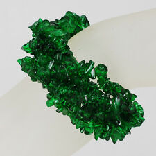 """*Unique Multi-strands Green Crystal Chip Bracelet with Silver Clasp 7-8"""""""