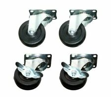 "4 x 2"" Black Rubber CASTORS Caster Wheel Swivel brake fixed 4P set combination N"