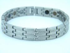 homme Grand Bio Magnétique Bracelet acier inoxydable 5 en 1 teinte argenté S512