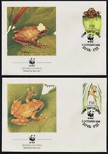 Fiji 591-4 on FDC's - WWF, Tree Frogs