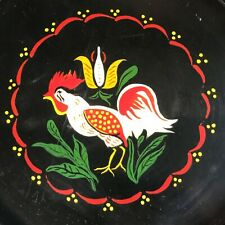 1959 Signed Metal Enamel Tole Toleware Tray with Rooster by R. Lane
