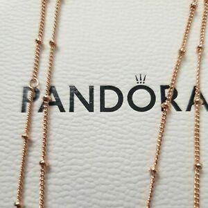 Genuine PANDORA Rose Gold BEADED Necklace 70cm 387210 ALE R