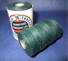 Waxed Linen thread  18 / 4 .      100 metre spool dark green