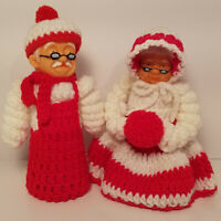 Vintage Crochet Santa and Mrs. Claus Pair Plastic Heads Christmas Red White Yarn