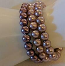 3 Faux Pearl Bracelets Stretchie Pink Lavender Silver Nice Stacked Together