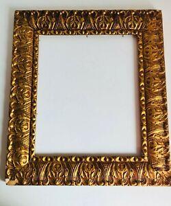 "Antique Ornate Wall Frame Gilt Gold Wood Gesso, Inner dim= 13"" x 11"", Florentine"