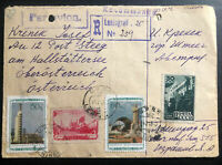1949 Leningrad Russia USSR Registered Airmail Cover To Steeg Austria B