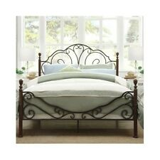 Queen Bed Antique Victorian Iron Vintage Rustic Metal Headboard Footboard Frame
